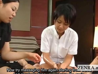 Subtitled CFNM byzantine pecker massage explosive spunkshot