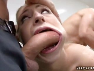 light-haired Jaelyn Fox dreaming on the edge of real act of sexual procreation with real man with sex toy in her twat