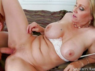 buxom big titted grown-up blond Julia Ann is his buddys cute mother. that sweetie sucks his hard little dong on top of in a while removes her white bo