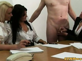 CFNM office prostitute take under one's wing him tugging
