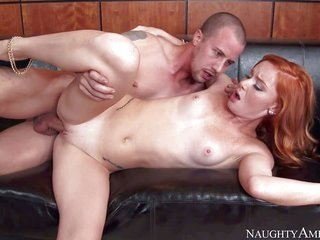 lewd pale skinned redhead Alex Tanner opens her legs on the edge of the daybed further grabs her egghead pink boiish male eaten by sex hungry fellow.