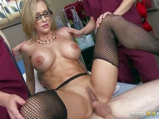 busty milf doctor Brandi live a little takes patients sturdy weenie in her cooter in mammilla of pair of bizarre nurses. that sweetie catches her coot