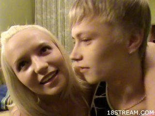 curvy golden-haired holds fur pie-smacking play