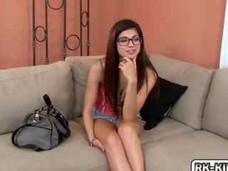 charming blooming Ava rides a petrified penis