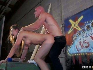 Johnny Sins enjoys dangerously steamy Dani Danielss slightly wet chasm in hardcore show