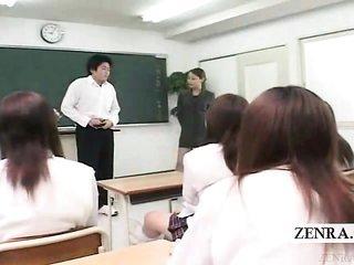 Subtitled CFNM oriental classroom masturbation coach