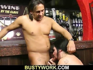 enormous barmaid take it from behind at workplace