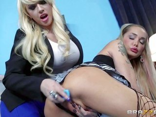 Kagney Linn Karter gains gorgeous gorgeousel maid Devon playing with her set of toys. during the whole of assed stacked maid in wild uniform seizes he