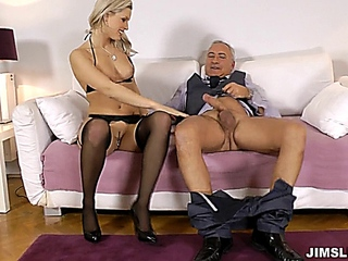 blanche in pitch-black stockings - jim come in