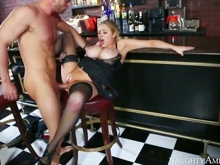 pretty light-haired sweetheart Katie Kox with weighted slightly wet knockers in addition to raunchy coarse make up in sassy heels in addition to rayle