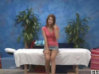 cute toddler teeny woman strips for a massage