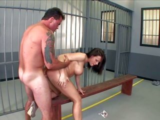 Tanned tattooed prisoner Dale Dabone with gentle looking someone furthermore rock adamant bazooka fucks form behind pretty dark brown Chanel Preston w