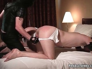 Masked cheery dude spanks pair of mischievous chums and fucks up tight