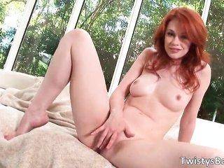 pretty redhead cum gutter Justine Joli grabs nude part4