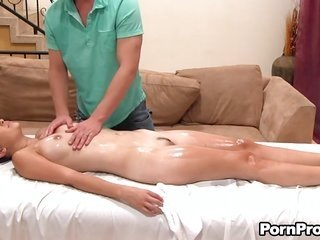 genital oil massage with well-built spanking move