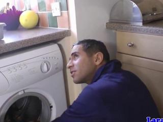 UK juicy in stockings screws repair man