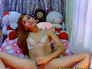 brownish hair crossdresser Jerks Off her steely ramrod