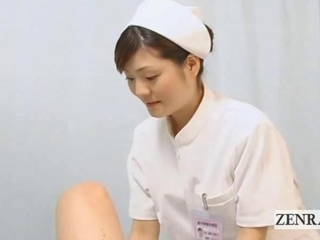 Subtitled POV japanese nurse wanking with face sitting