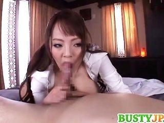 Hitomi Tanaka with big bags sucks penis
