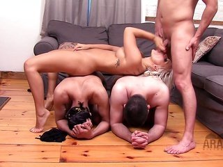 Arab headmistress cuckold American man using her 2 arab slaves