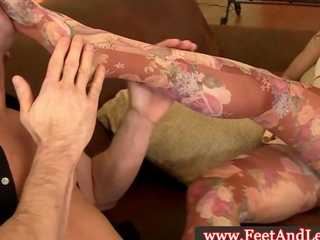 Samia Duarte giving a footjob