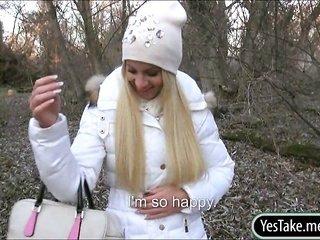 beginner Czech model Kiara gangbanged in reform for money